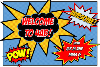 Superhero Theme Welcome Sign - editable