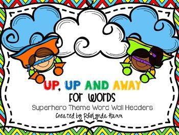 Superhero Theme Word Wall Headers