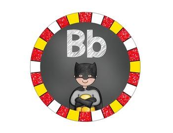 Superhero Theme Word Wall Headers - Glitter