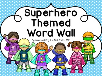 Superhero Theme- Word Wall Headers and Cards- Editable