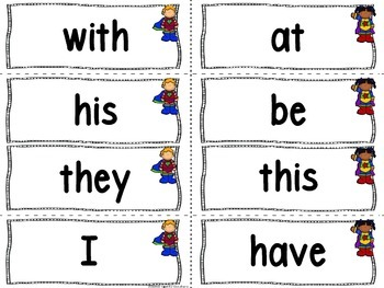 Superhero Theme Word Wall Letters and 100 Fry Words (blue background)