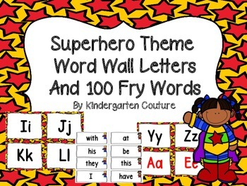Superhero Theme Word Wall Letters and 100 Fry Words (red a