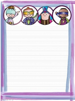 Superhero Theme Writing Paper