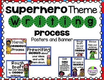 Superhero Theme Writing Process Posters & Banner