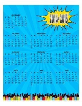 Superhero Themed 2016 - 2017 Calendar for the Year