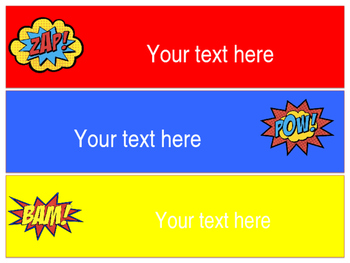Superhero Themed 3 Drawer Labels