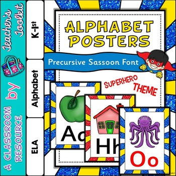 Superhero Themed Alphabet Posters Frieze {UK Teaching Resource}