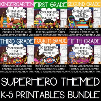 600 K-5 Superhero Themed Anytime Printables BUNDLE