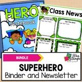 Superhero Binder and Editable Superhero Newsletter BUNDLE