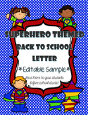 Superhero Themed Back to School Letter