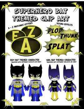 Superhero Themed Bat Clip Art Two Characters, Alphabet Logo, Sound Effect Logo