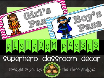 Superhero Themed Bathroom Passes