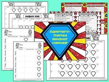 Superhero-Themed Behavior Calendars