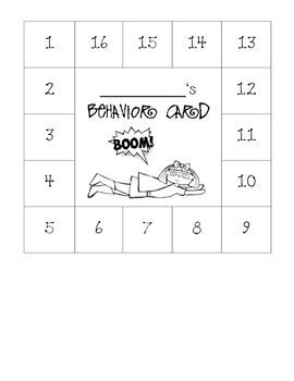 Superhero Themed Behavior Card
