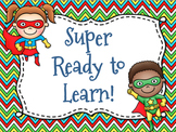 Superhero Themed Behavior Chart *Mini Pennant Banner Chart Header* and Forms