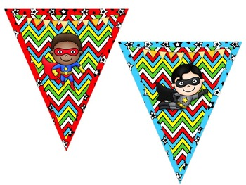 Superhero Themed Behavior Chart *Mini Pennant Banner Chart Header* and Forms