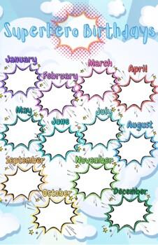 Superhero Themed Birthday Chart