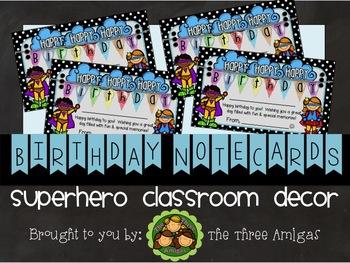Superhero Themed Birthday Notecards