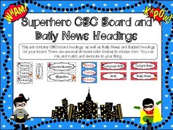 Superhero Themed CBC Board and Daily News Headings