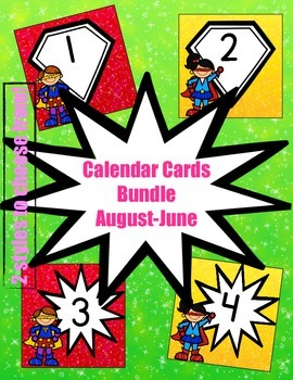 Superhero-Themed Calendar Card Bundle