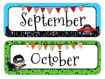 Superhero Themed Calendar Headers l Months and Days of the Week