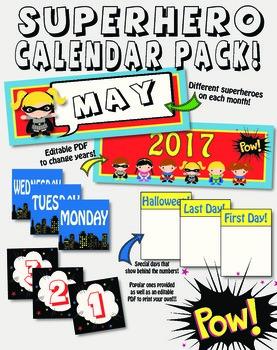 Superhero Themed Calendar Pack!