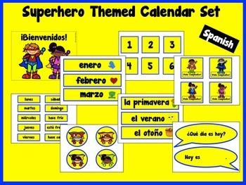 Superhero Themed Calendar Set {Spanish}