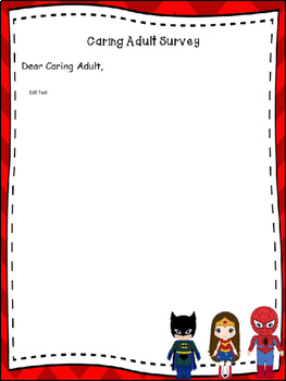 Superhero Themed Caring Adult Survey (Editable Letter)