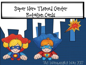 Superhero Themed Center Rotation Cards