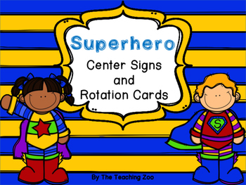 Superhero Themed Center Signs and Rotation Cards