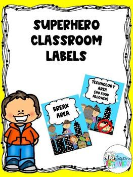 Superhero Themed Classroom Area Labels