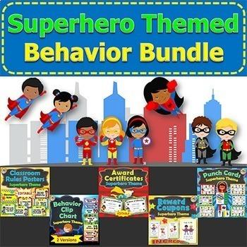 Superhero Classroom Theme Behavior Management BUNDLE Rewards Certificates Goals
