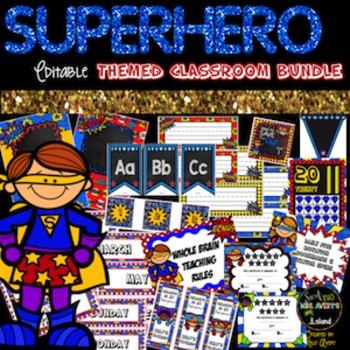 Superhero Themed Editable Classroom Decor