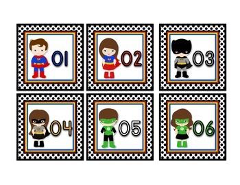Superhero Themed Classroom Calendar Numbers in White (3x3)