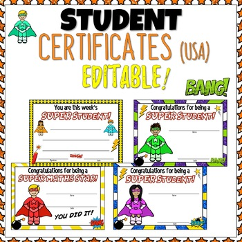 Superhero Themed Classroom Celebration Certificates EDITABLE USA