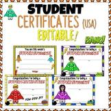 Superhero Themed Classroom Celebration Certificates EDITABLE USA