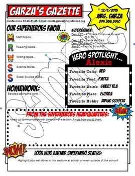 Superhero Themed Classroom Newsletter