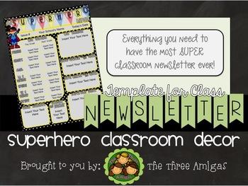 Superhero Themed Classroom Newsletter Template
