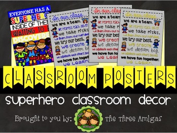 Superhero Themed Classroom Posters Set