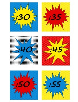 Superhero Themed Clock Numbers