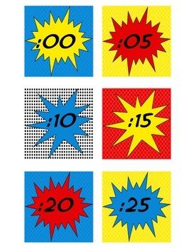 Superhero Themed Clock Numbers