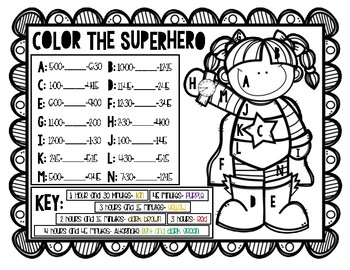 Superhero Themed Color By Answer- Elapsed Time *FREEBIE*
