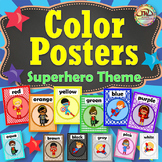 SUPERHERO Themed Color Posters Classroom Decor and Reference, Plus Flash Cards