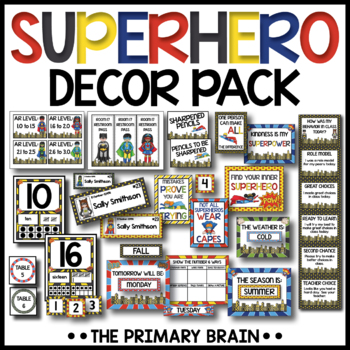 Superhero Themed Classroom Decor Pack BUNDLE