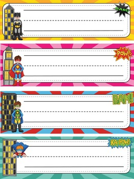 Superhero Themed Desk  Labels For Big Kids (grades 3 - 6) Editable