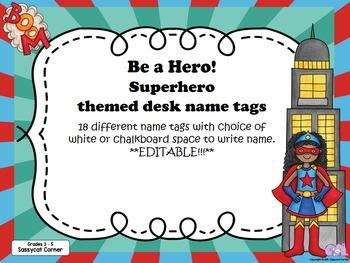 Superhero Themed Desk  Labels For Big Kids (grades 3 - 6)