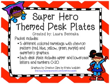 Superhero Themed Desk Plates
