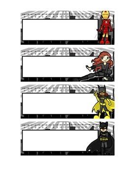 Superhero Themed Desk Plates