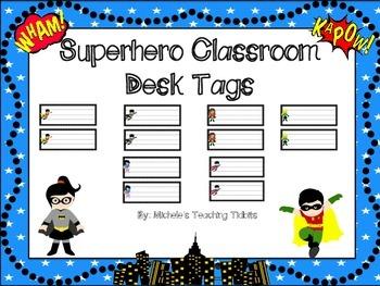 Superhero Themed Desk or Cubby Tags