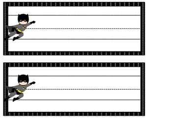 Desk or Cubby Tags: Superhero Themed